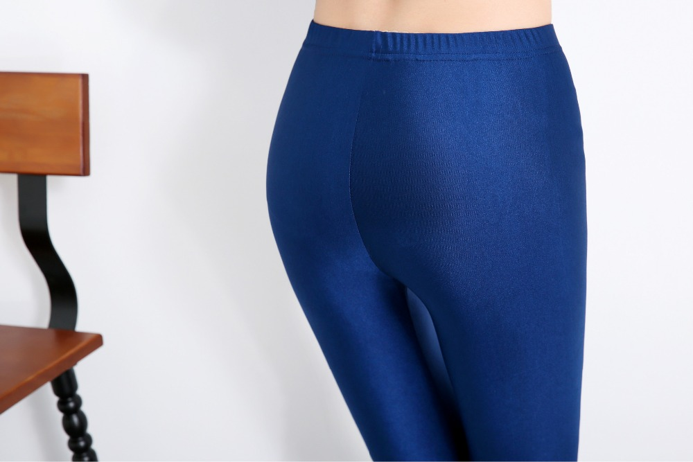Women Solid Color Fluorescent Shiny Pant Leggings Spandex Shinny Elasticity Casual Trousers 55