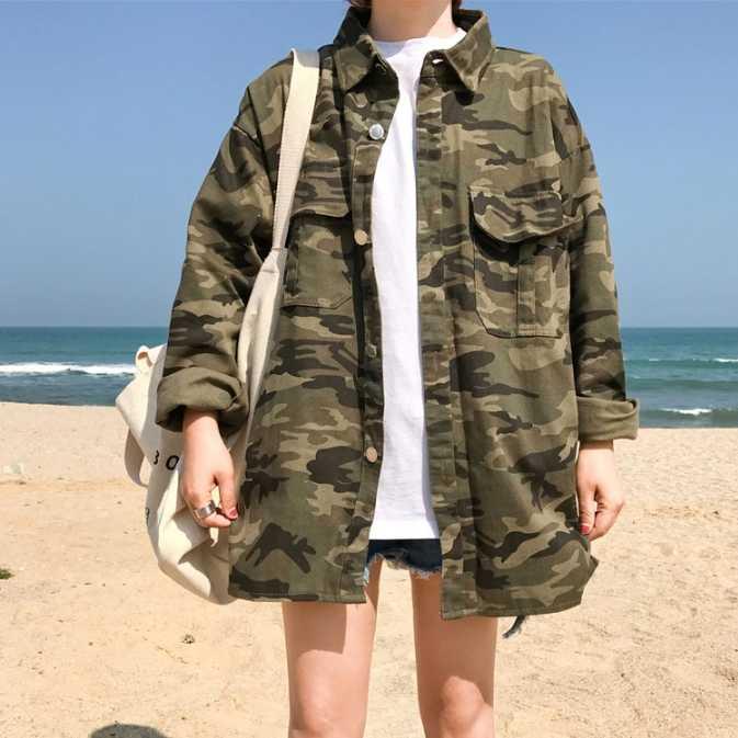 0f59fa7c4986d Summer pop big pocket tooling shirt Harajuku casual army green camouflage  denim oversize Bomber Jacket Outerwear