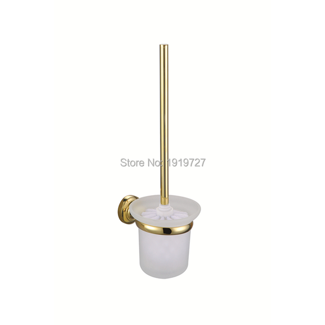2017 Wholesale European Luxury Classic High-end Hardware 100% Copper Wall Mounted Bathroom Accessories Gold Toilet Brush Holders