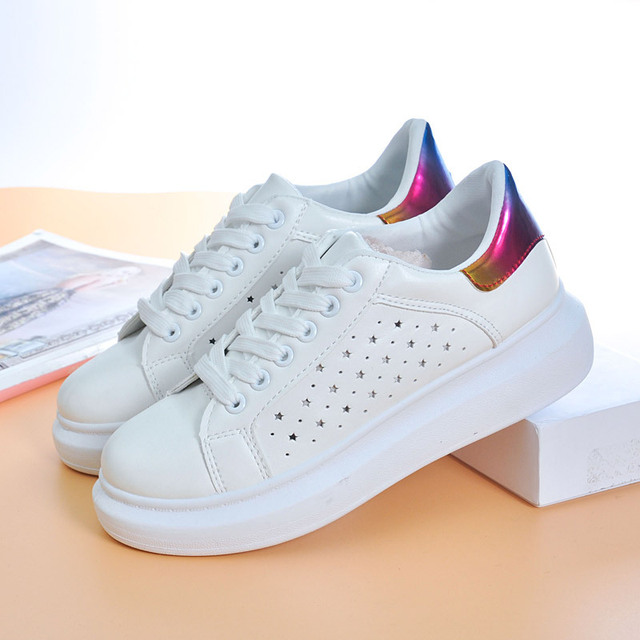 ZCHEKHEN Breathable Fashion White Shoes Slipony Women Footwear 2017 Spring Summer Pu Slip on Casual Shoes Hot Sale Hollow Out