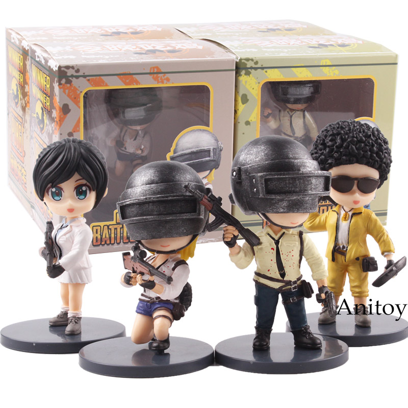 Hot Game Playerunknown's BattleGrounds PUBG Q Version PVC Figures of Games Collectible Model Toys 4pcs/set все цены