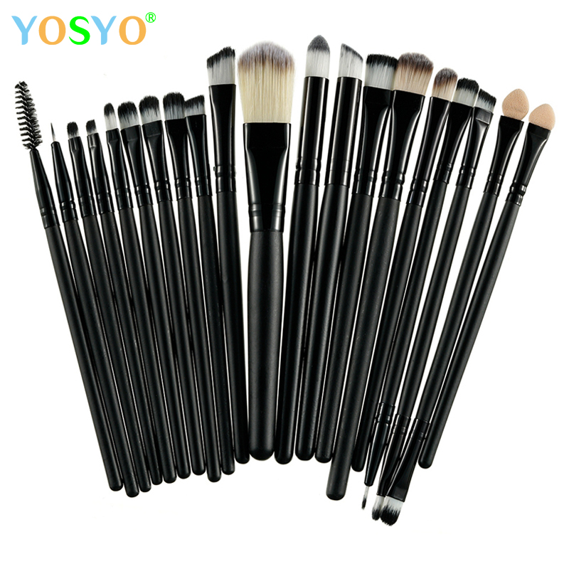 YOSYO 20PCS Professional Makeup Brushes Set Powder Foundation Eyeshadow Make Up Brushes Cosmetics Soft Synthetic Hair Brushes