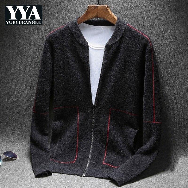 2019 nouveau automne hiver hommes Cardigans chandail coréen Slim Fit tricoté survêtement poche Zipper mâle chandail manteaux grande taille M-4XL