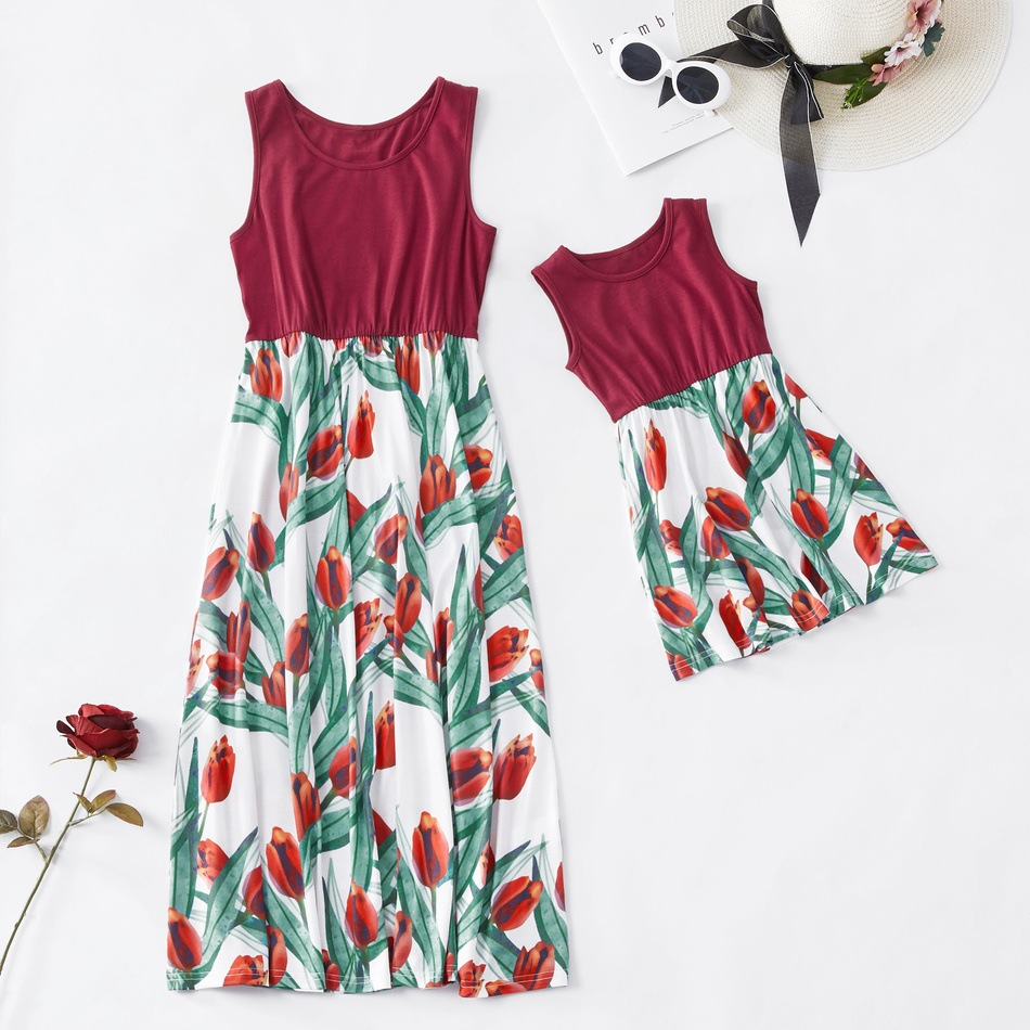 ZOGAA 2019 New Floral Tulip Mother and Daughter Long Skirt Causal Sleeveless Red Mommy and Me Maxi Dress in Matching Family Outfits from Mother Kids