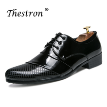 Thestron Men Dress Shoes 2018 Leather Oxford Formal Male Lace Up Wedding Derby Luxury Brand Black White Golden