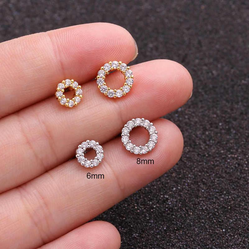 Sellsets gümüş ve altın renk CZ damızlık Piercing ay yıldız kıkırdak küpe kabuklu Tragus damızlık Helix kıkırdak Piercing takı