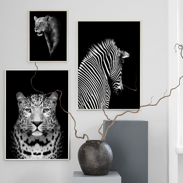 Black White Elephant Giraffe Zebra Wall Art  1