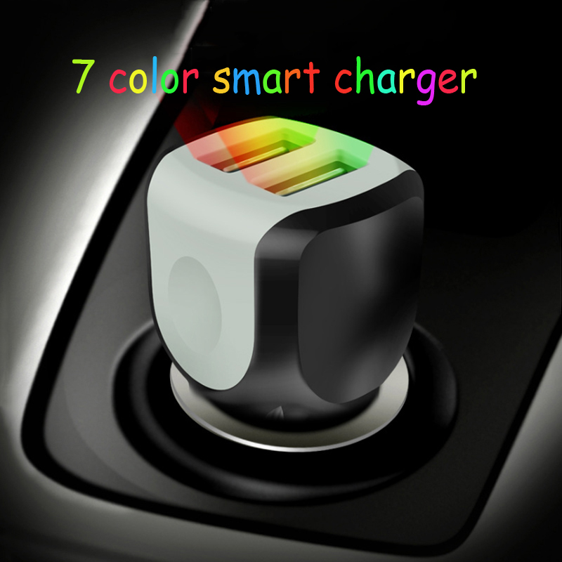 Car Charger 2.4A Dual USB Colorful Light Car Charger Smart Fast Car Charger For Mobile Phone iPad