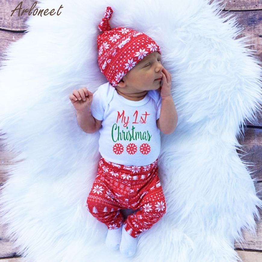 ARLONEET Fashion Baby Boy Girl Clothes Newborn Infant Baby Boy Girl Romper Tops+Pants+Hat Christmas 3PCS Clothes Set #