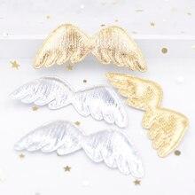 30 шт. 78 мм Золотая и серебряная ткань, аппликации в виде крыльев Ангела, мягкие нашивки для рукоделия, одежды, аксессуары G01