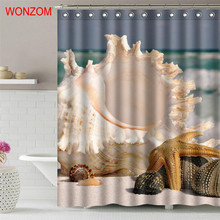 WONZOM 2018 Shell Polyester Shower Curtains For Bathroom Decor Modern 3D Landscape Bath Curtain with 12 Hooks Mildewproof Gift