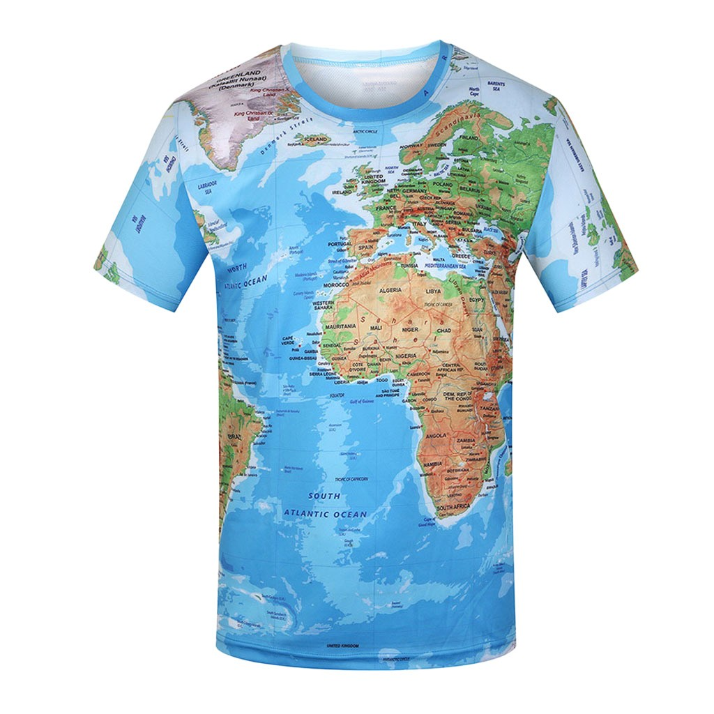 Best Selling World Map T-shirt Funny T Shirts Summer Fashion Anime Tshirt 3D T Shirt Mens Clothing Tops Tees 2019 New Hot Sale