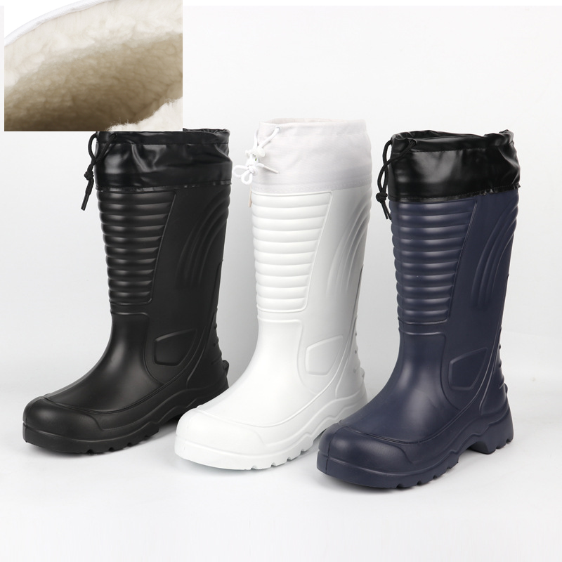EXCARGO Shoes Men Winter Long Waterproof Snow Boots Rubber Rianboots Plus Velvet Warm EVA Rain Boots Lightweight Non-slip Shoes