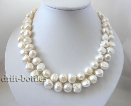 100% Selling Picture full 2Strands 17'' 12mmx14mm Baroque White Freshwater Pearl MABE Clasp Necklace