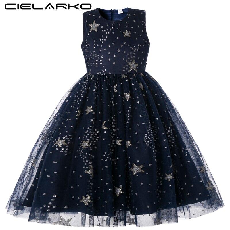 5fc8f37a25 Cielarko Girls Dress for Wedding Birthday Party Star Print Long Dresses  Sleeveless Elegant Children Ball Gown