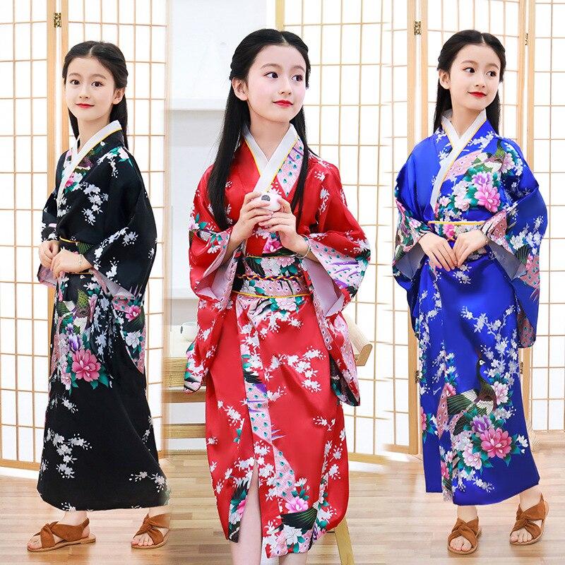Kids Japanese Kimono Loose Pajamas Baby Girls Home Sleepwear Peacock Print Traditional Dress Children Yukata Costumes Bath Robes