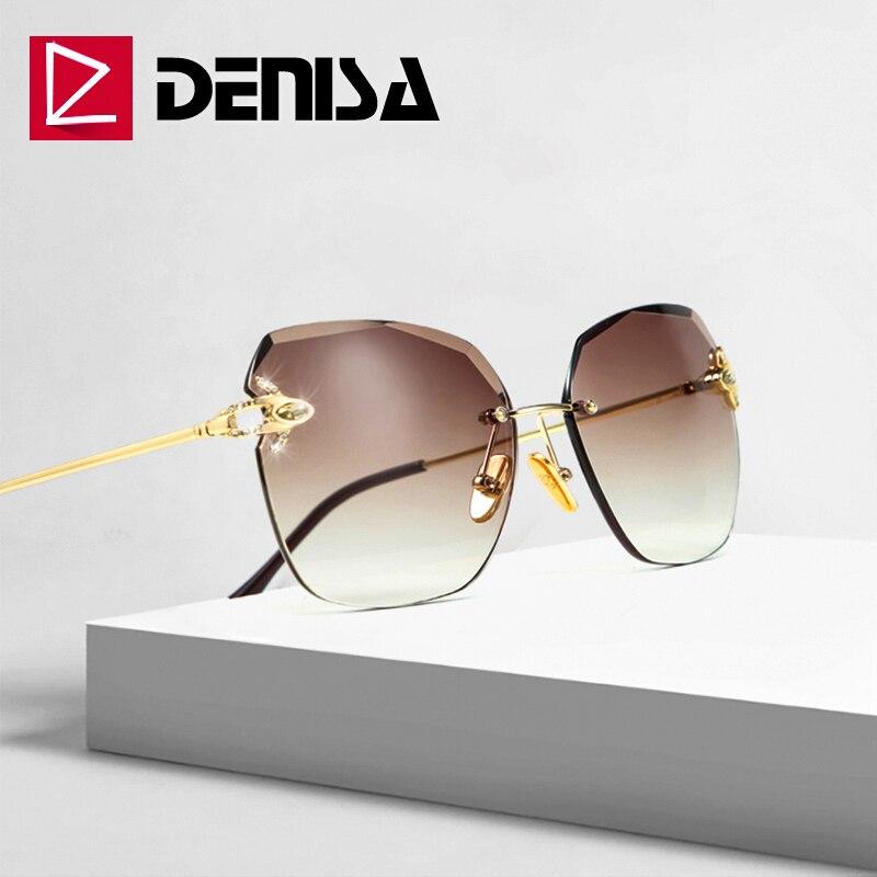 DENISA Marca Grandes óculos de Sol Das Mulheres de Luxo Strass Senhoras Óculos De Sol Sem Aro 2019 Óculos de Lente De Corte Projeto Verão G31277