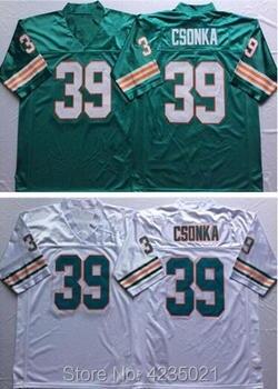 Mens Embroidered Logo Larry Csonka white green throwback high school FOOTBALL JERSEY Size M-XXXL sports jersey