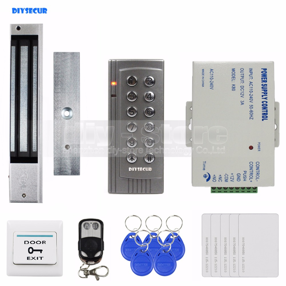 DIYSECUR Remote Control 125KHz RFID EM Reader Keypad Door Access Control System Kit + 280KG Electric Magnetic Lock K4 diysecur remote control rfid keypad door access control security system kit 280kg magnetic lock for home office b100