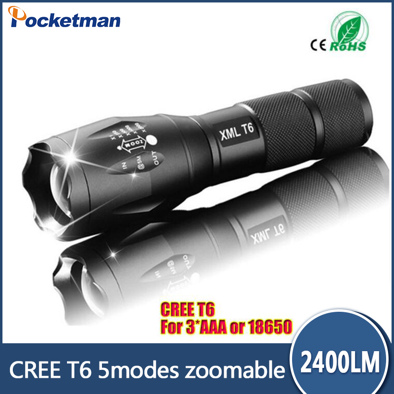 E17 CREE XM-L T6 2400Lumens cree led Torch Zoomable cree LED Flashlight Torch light For 3xAAA or 1x18650 Free shipping e17 cree xm l t6 2400lumens led flashlight torch adjustable led flashlight torch light flashlight torch rechargeable