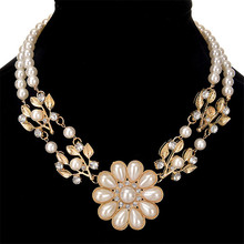 Colares Femininos Simulated Pearl Necklace for Women Fashion Gold Color Beads Choker Necklaces Statement Jewelry collier femme