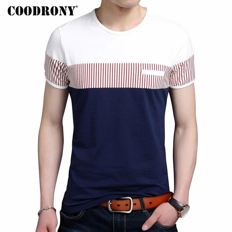 COODRONY algodón T camisa de los hombres de marca de verano ropa de manga corta Camiseta de moda a rayas Caballero Top cuello redondo Camiseta Homme 2249
