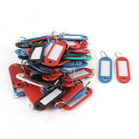 Portable Black Blue Plastic Holder ID Key Labels Tags Keyrings Keychains 50PCS