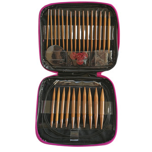 Image 4 - 13 Pairs Knitting Needles Set Carbonized Bamboo Interchangeable Circular Weaving Sewing Tools Crochet Hooks for Yarn Needle