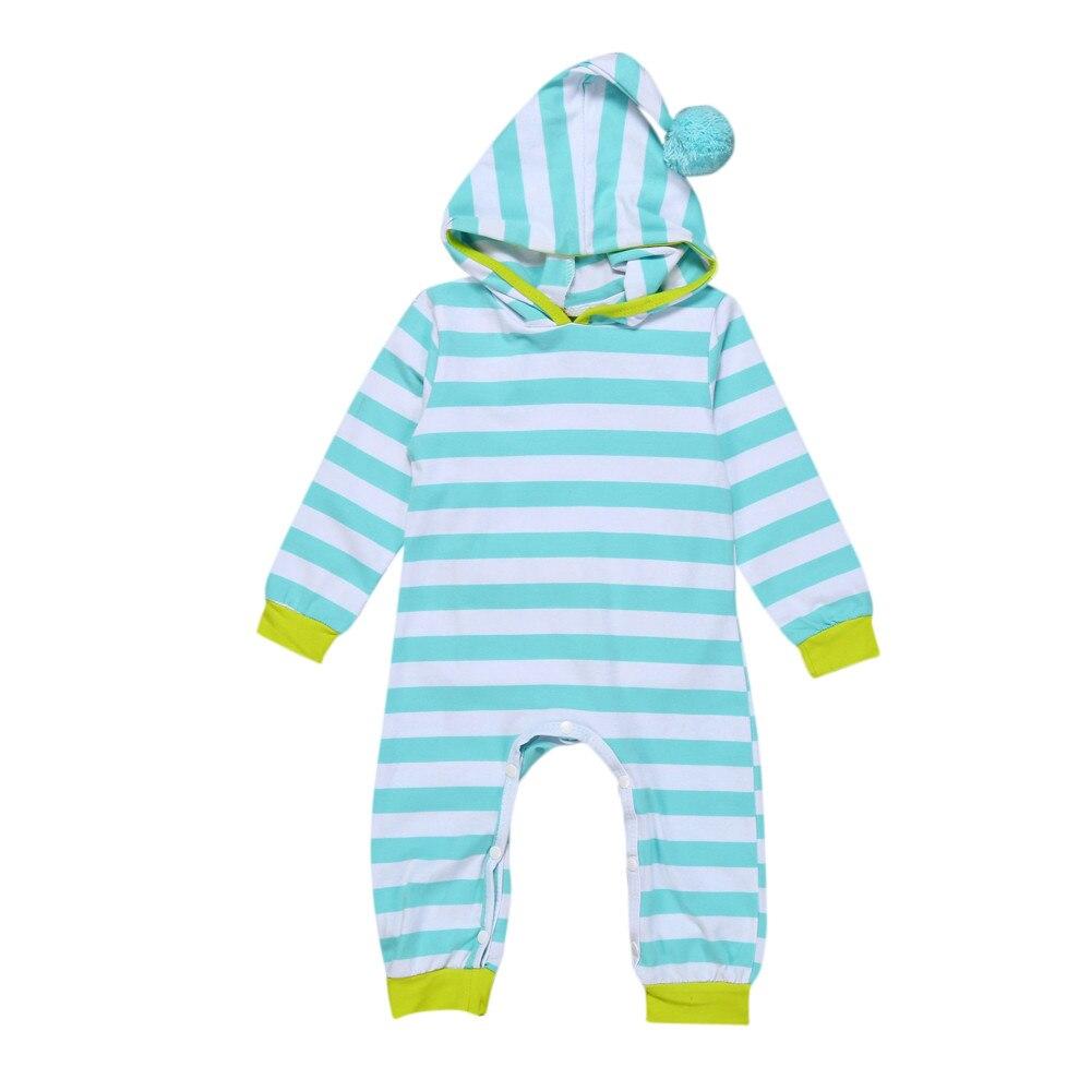 ARLONEET/Модный комбинезон в полоску с длинными рукавами и капюшоном для мальчиков и девочек 0-2 лет, комбинезон, Прямая поставка Nov8