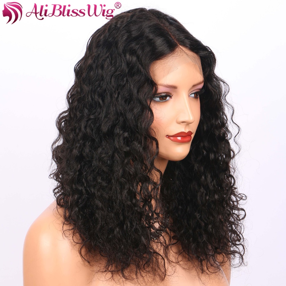 Human Hair Lace Wigs Kinky Curly Lace Front Human Hair Wigs For Women 4 Inch Brazilian Remy Hair Curly Lace Wigs Medium Brown Middle Part Aliblisswig Lace Wigs