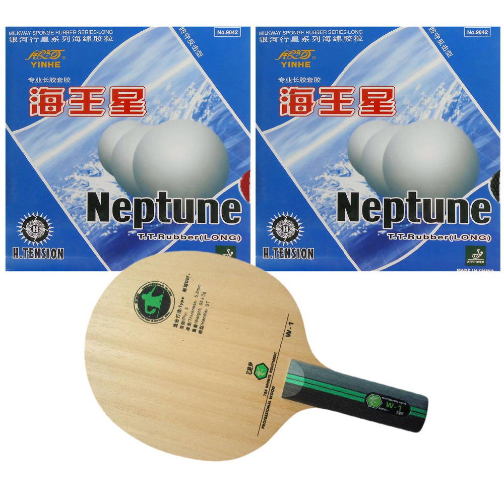 Pro Table Tennis/ PingPong Combo Racket: RITC 729 Friendship W-1 with 2x Yinhe Neptune Rubbers Long Shakehand ST