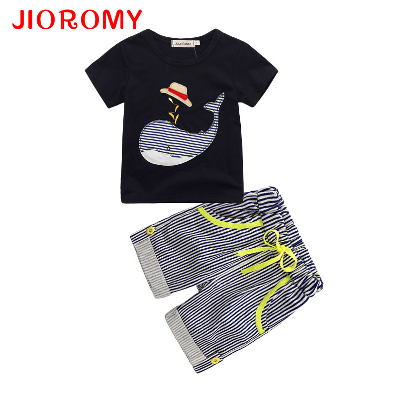 JIOROMY 2017 New Childrens Clothing Boys Summer Whale T-shirt + Striped Shorts Sports Suit Brand Children Boy Baby Kids OutfitsJIOROMY 2017 New Childrens Clothing Boys Summer Whale T-shirt + Striped Shorts Sports Suit Brand Children Boy Baby Kids Outfits