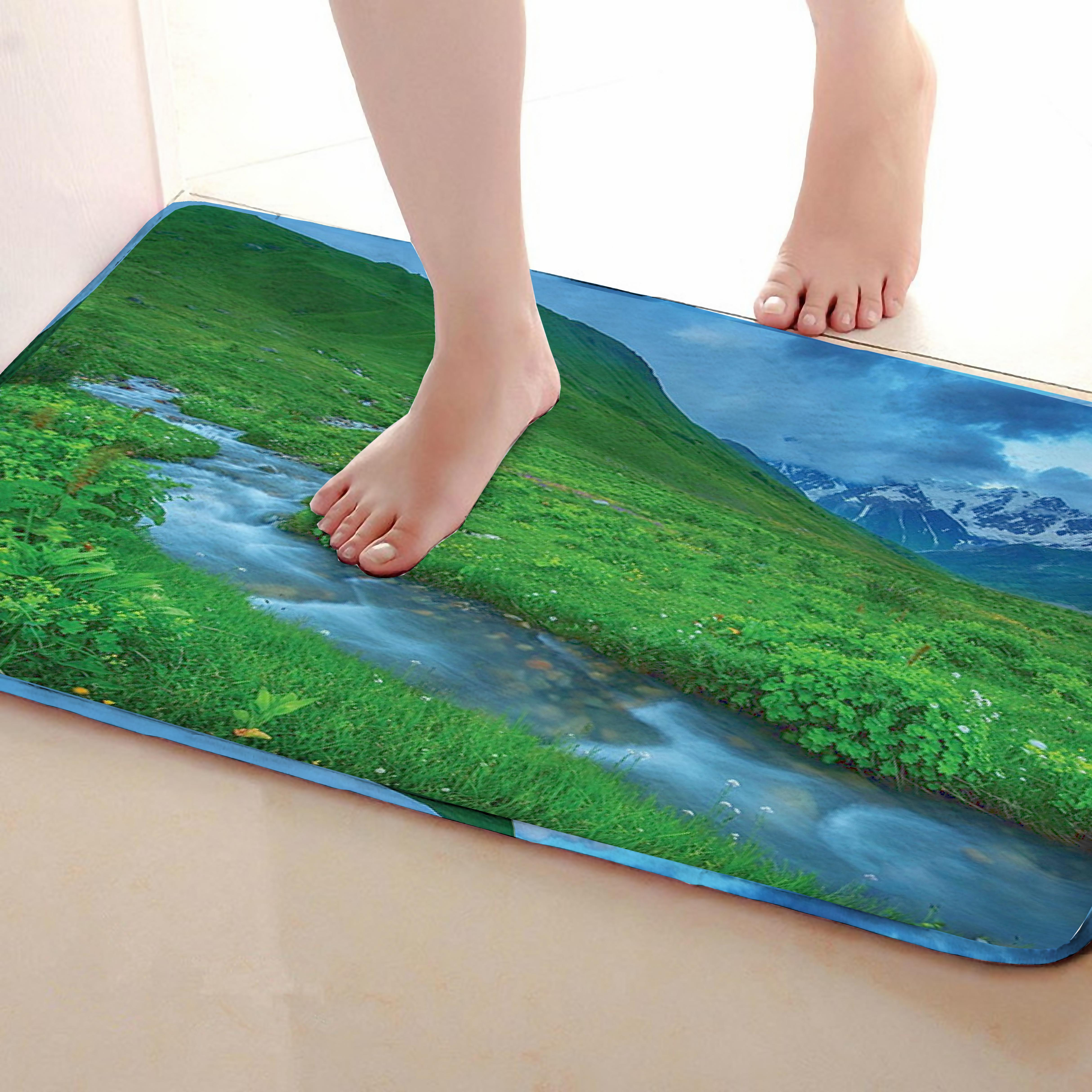 Alpine Style Bathroom Mat,Funny Anti skid Bath Mat,Shower Curtains Accessories,Matching Your Shower Curtain