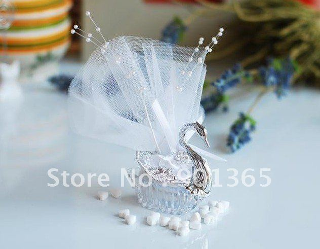 Acrylic Silver Swan Sweet Love Wedding Gift Jewelry Candy Box 100pcs/lot