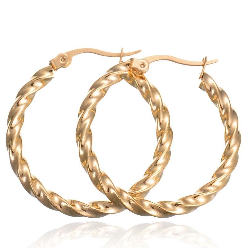 Wholesale 30mm Stainless Steel Loop Earrings Basketball Wives Bamboo Hoops Earrings Hip Hop Earrings