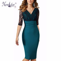 Nemidor 2016 Women Elegant Patchwork V Neck Lace Dress Vintage Half Sleeve Party Bodycon Midi Dress