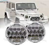 2pcs 7 Inch 75W Headlights Hi Lo Beam 6000K Round LED White Angel Eye Daymaker LED