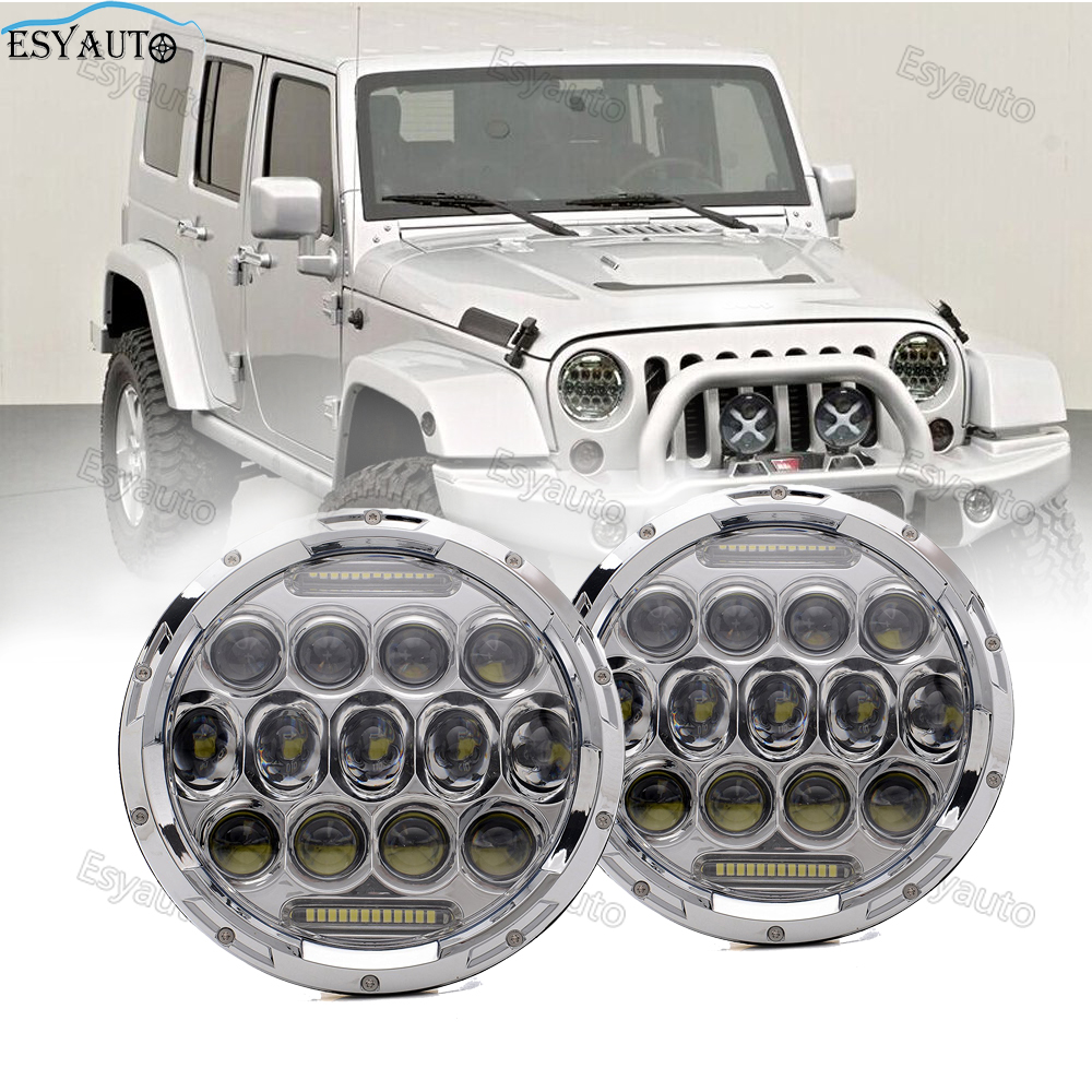 2pcs 7 inch 75W Headlights Hi/Lo Beam 6000K Round LED white Angel eye Daymaker LED headlamp for jeep Wrangler 2pcs new design 7inch 78w hi lo beam headlamp 7 led headlight for wrangler round 78w led headlights with drl