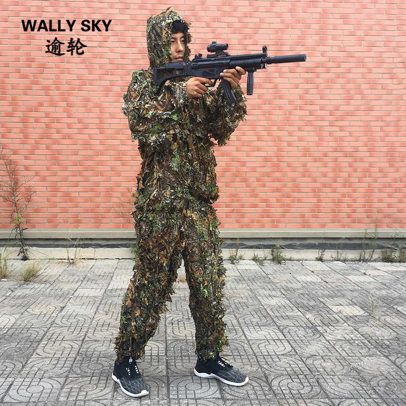 7e66d2c6a96ee Camouflage Clothing Leaf-like Jungle Camouflage Bionic Suit Camo 3D Leaf  Yowie Ghillie Suit for