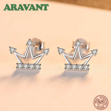 New S925 Sterling Silver Cute Crown Cubic Zircon Stud Earrings For Woman Girls Ear Jewelry