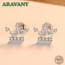 New S925 Sterling Silver Cute Crown Cubic Zircon Stud Earrings For Woman Girls Ear Jewelry crown ear 400g