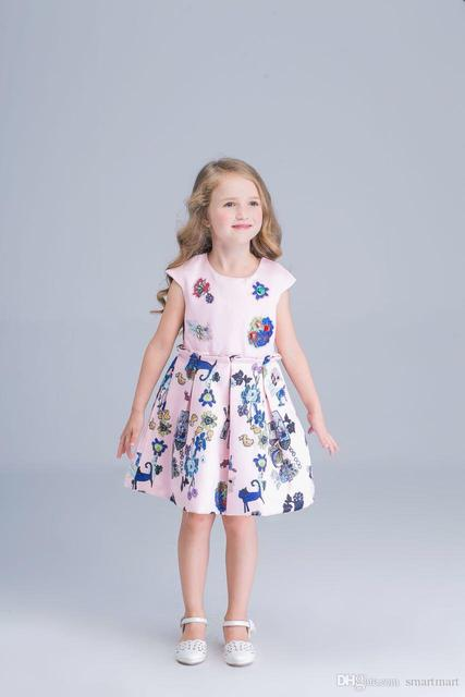 New Kids Girls Cartoon Animal Print Ruffles Dress Fall Winter Princess Holiday Party Dress 7pcs/lot Wholesale