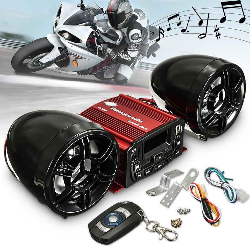 цена на 12V Motorcycle Audio Remote Control Speaker Sound alarm System USB MP3 FM Radio