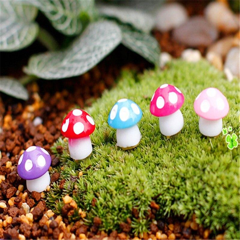 US $0 89 19% OFF|20Pcs/lot Fairy Garden Miniatures Mini Mushroom Garden  Decoration Resin Mushroom Craft Miniature Fairy Figurines Manualidades-in