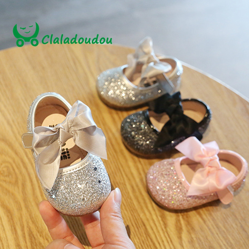 Claladoudou 11-15cm Baby Shoes Bling Bow PU Leather Shoes Toddler Girls Spring Autumn Princess Infant Girl Shoes Soft Sole