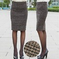 2017 Autumn And Winter Skirts Womens Plus size Clothing Female Vintage Slim Hip Wool Plaid Knee-length Midi Pencil Skirt CD19