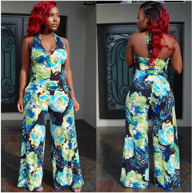 2cdd6d1937a Flower floral print jumpsuits for women wide leg halter rompers sexy one  piece outfits backless overalls