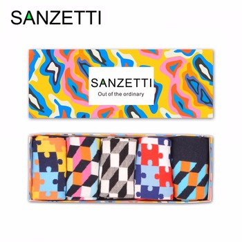 SANZETTI 5 pair/lot Gift Box Novelty Men's Funny Puzzle Pattern Combed Cotton Skateboard Socks Casual Crew Socks Birthday Gifts