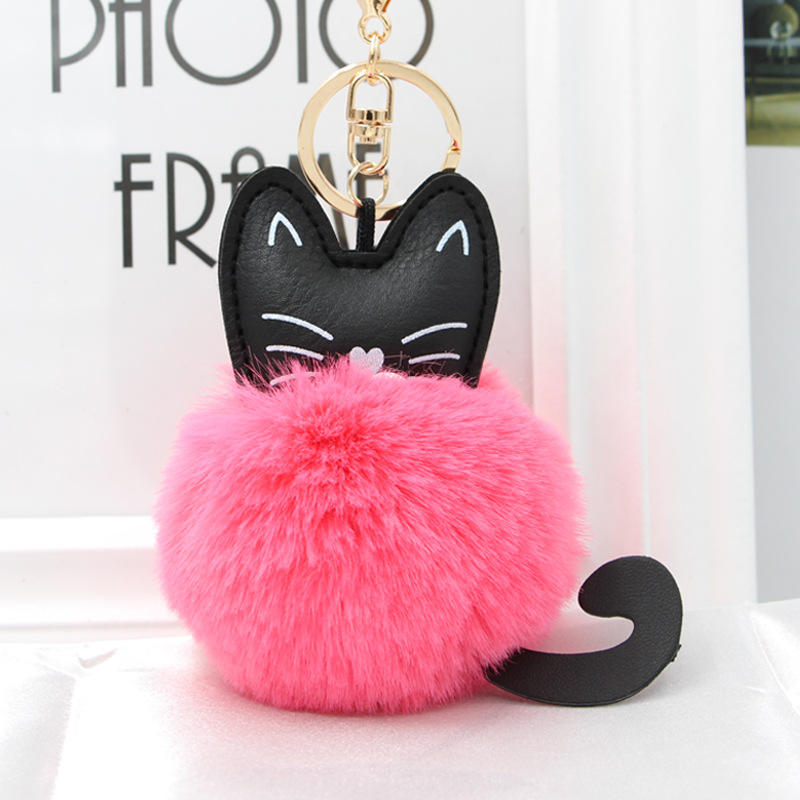 Womens Fluffy Rabbit Fur Ball Pom Pom Keychain Kitten Pompom Golden Keyring Holder Women Bag Charms Pendant Handbag Acessories