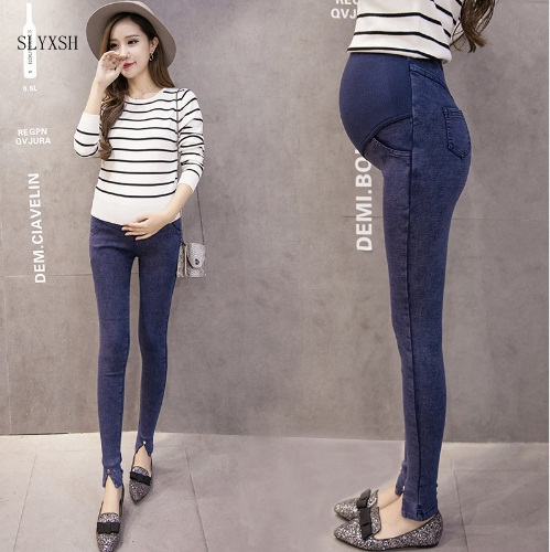 SLYXSH Elastic Waist Maternity Jeans Pants for Pregnancy Clothes Spring Summer 2017 New Pregnant Women Pant Maternity Plus Size